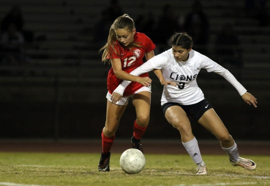Palm Desert's Aubrey Risenmay, left, and Cathedral City's Jaid Flores battle for the ball during the game in Palm Desert on Thursday, November 15, 2018.