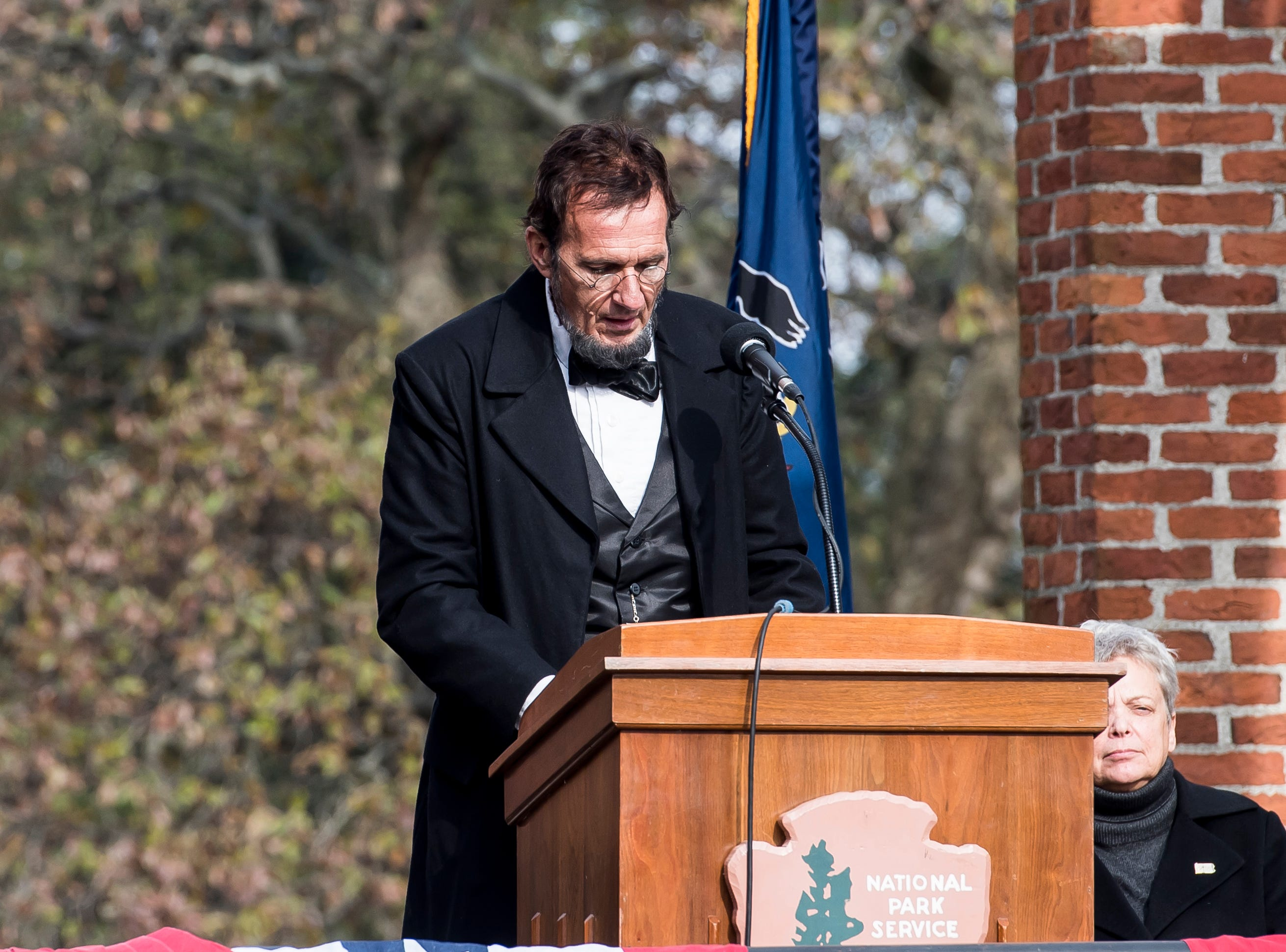 George Buss, portraying Abraham Lincoln, recites the Gettysburg Address during Dedication Day on November, 19, 2018. The day marked the 155th anniversary of Lincoln's Gettysburg Address.