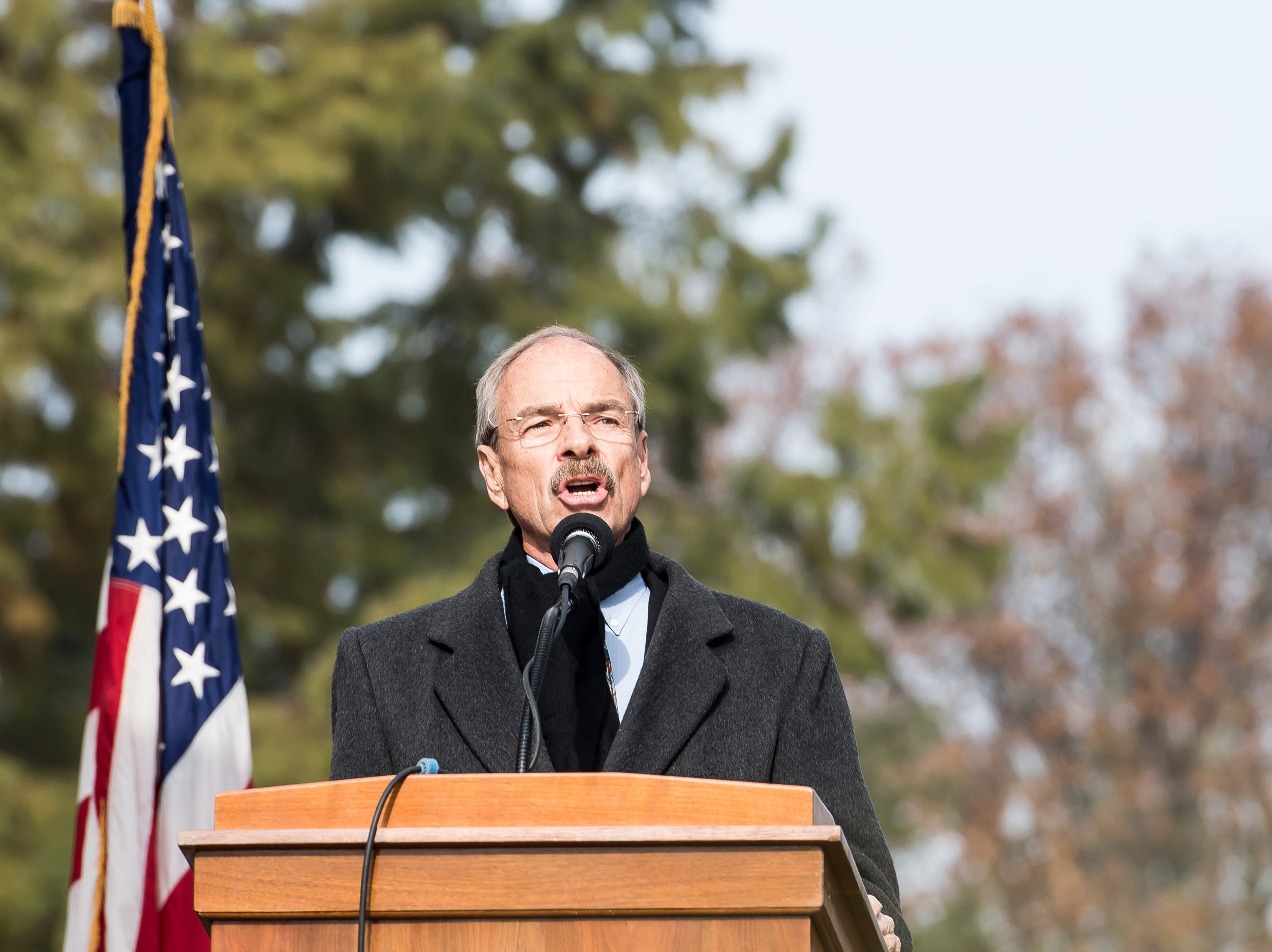 "Wayne Hill sings ""Battle Hymn of the Republic"" during Dedication Day at Gettysburg National Cemetery on November, 19, 2018."