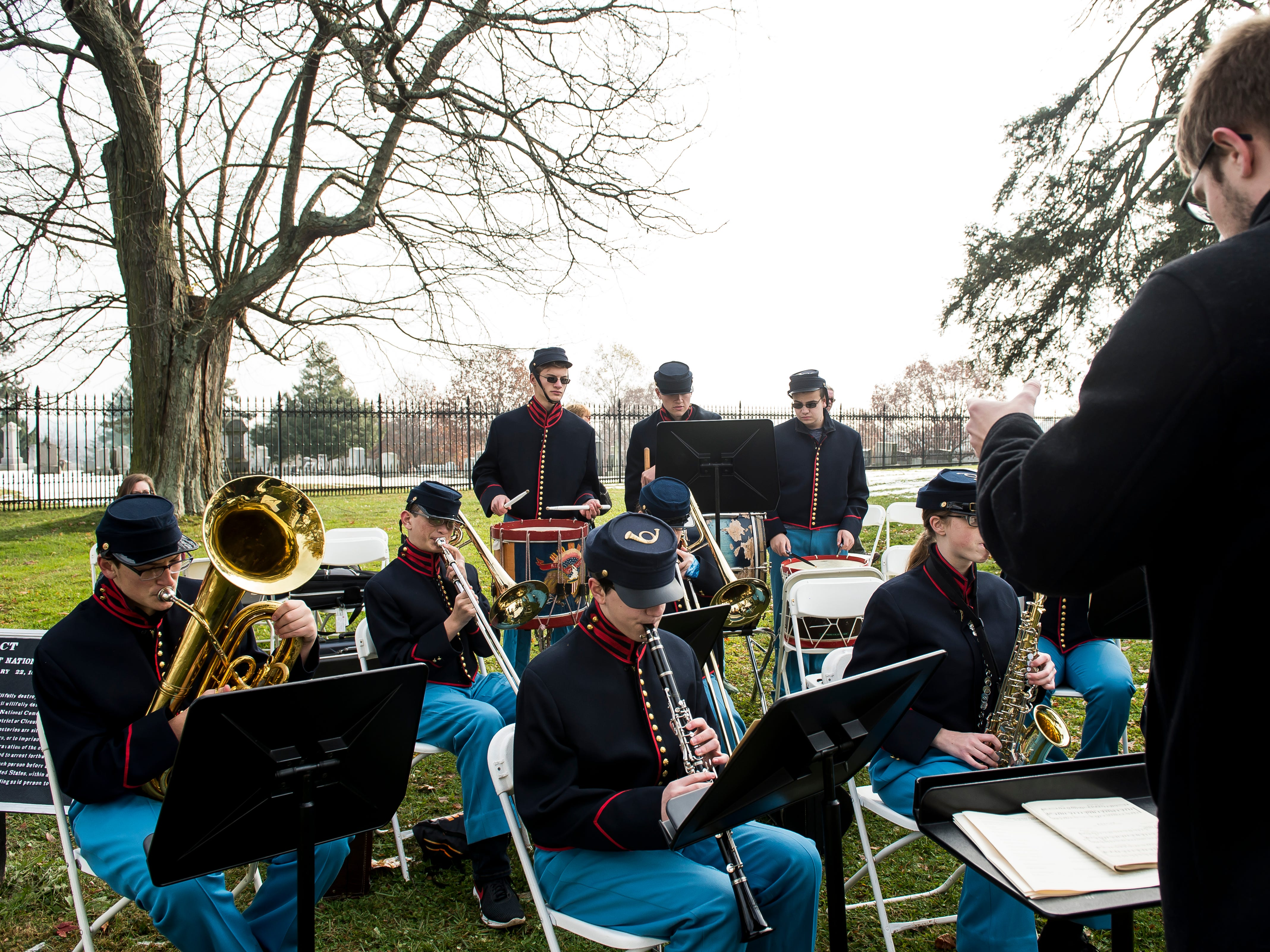 Members of Gettysburg High School's ceremonial band play the National Anthem during the start of Dedication Day in Soldiers' National Cemetery in Gettysburg on November, 19, 2018.