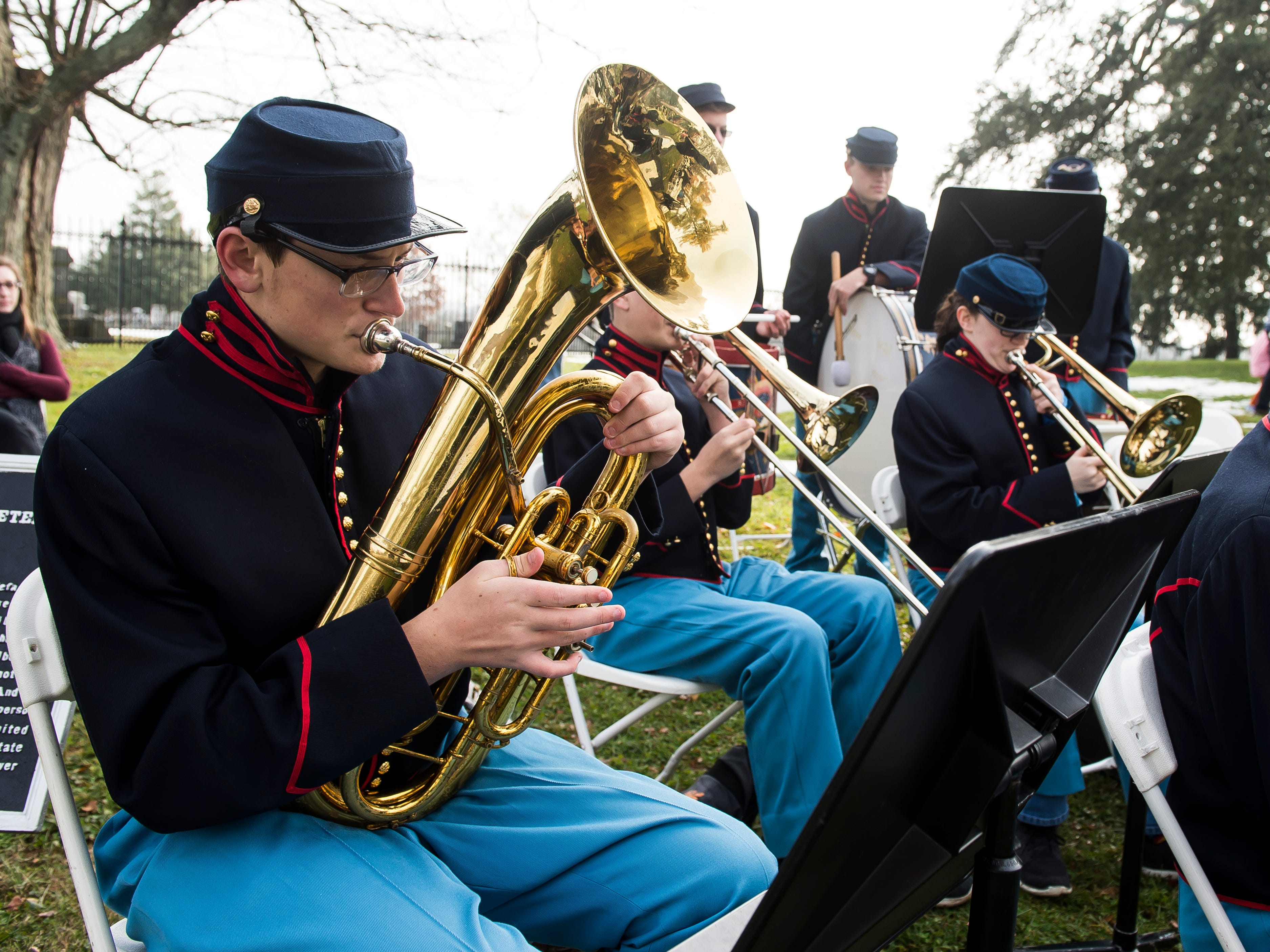 Evan Keyser plays the baritone as a part of the Gettysburg High School ceremonial band during Dedication Day in Gettysburg on November, 19, 2018.