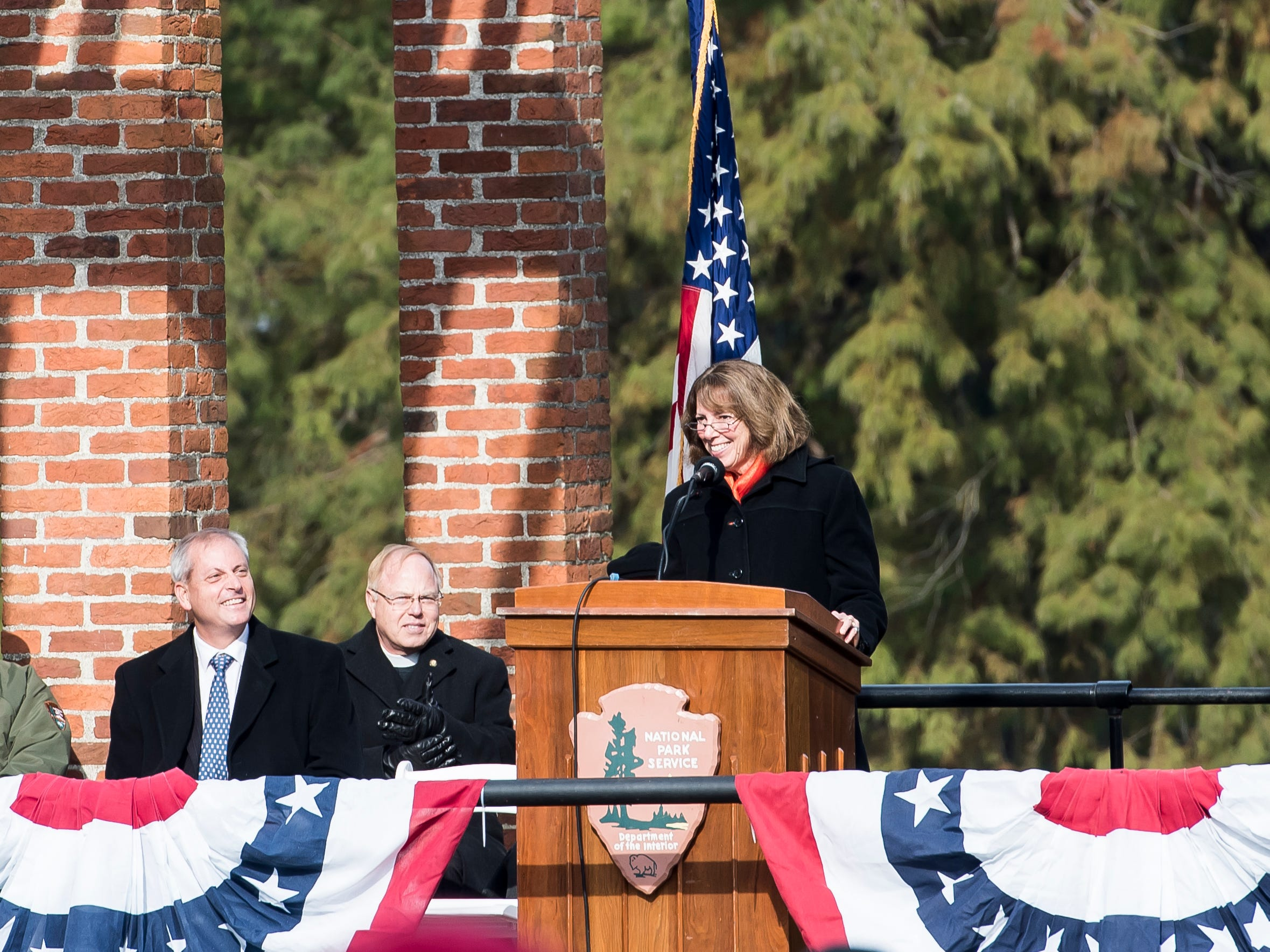 Dr. Janet Morgan Riggs, president of Gettysburg College, delivers the Dedication Day remarks keynote in Gettysburg National Cemetery on November, 19, 2018.