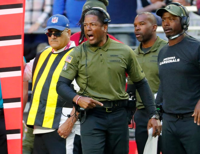Arizona Cardinals head coach Steve Wilks reacts to having the wrong personnel on the filed against the Oakland Raiders during the fourth quarter Nov. 18th at State Farm Stadium.