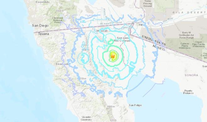 A graphic of a 4.8 magnitude earthquake felt in Yuma