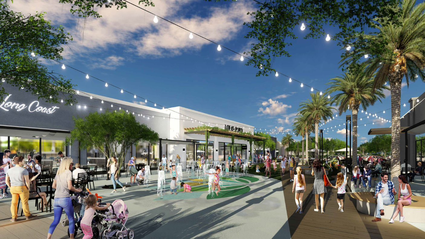 A rendering of the new splash pad area at Park West shopping center in Peoria, which is currently undergoing a $4 million renovation.