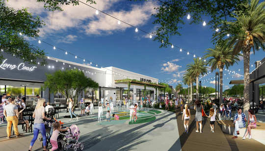 A rendering of the new splash pad area at Peoria's Park West shopping center, which is undergoing a $4 million renovation.
