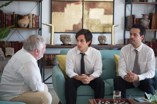 "In ""Museo,"" Juan (Gael García Bernal, center) and Benjamin (Leonardo Ortizgris) try to strike a deal with Frank (Simon Russell Beale)."