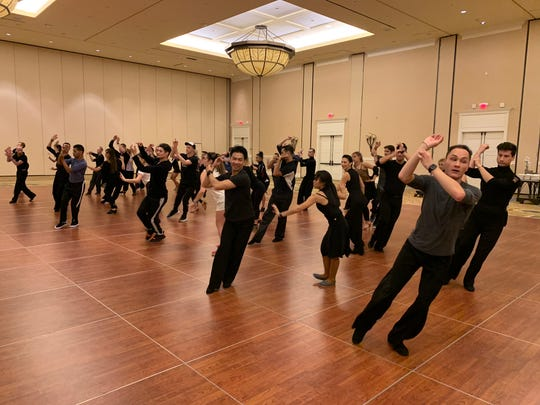 Performers with the Fred Astaire Dance Studios rehearse ahead of the 2018 Macy's Thanksgiving Day Parade.