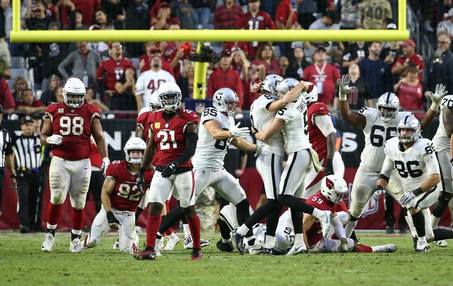 Arizona Cardinals' Patrick Peterson (23) reacts after against the Oakland Raiders' Daniel Carlson kicked a game winning field goal to end the game Nov. 18 at State Farm Stadium.