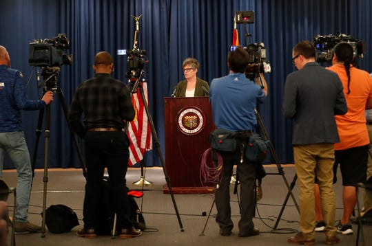 Secretary of State-elect Katie Hobbs speaks to reporters at the Arizona State Capitol November 19, 2018.
