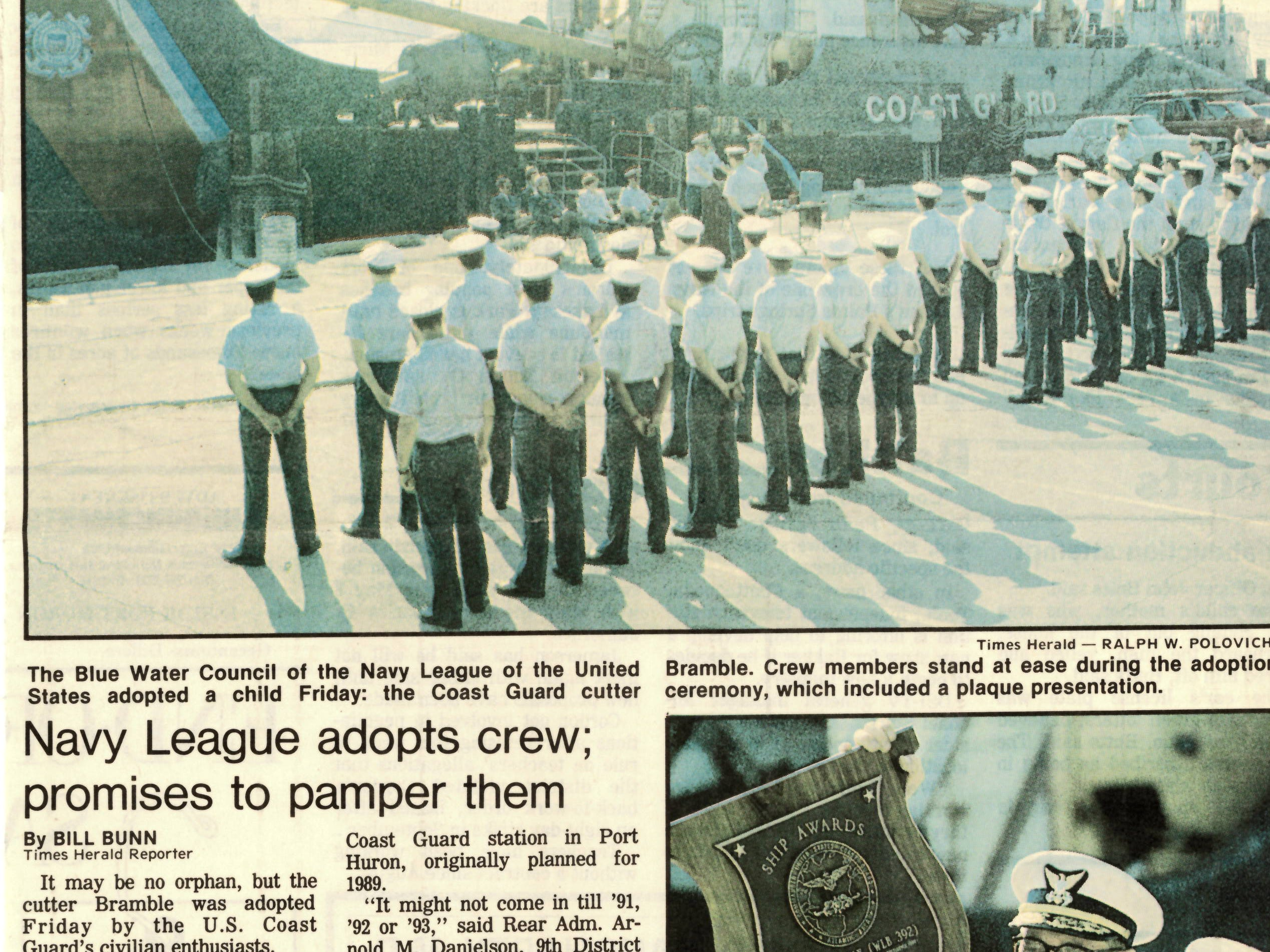 A newspaper clipping from May 1987 shows the adoption ceremony and plaque presentation from when the Blue Water Council of the Navy League of the United States dopted the USCGC Bramble.