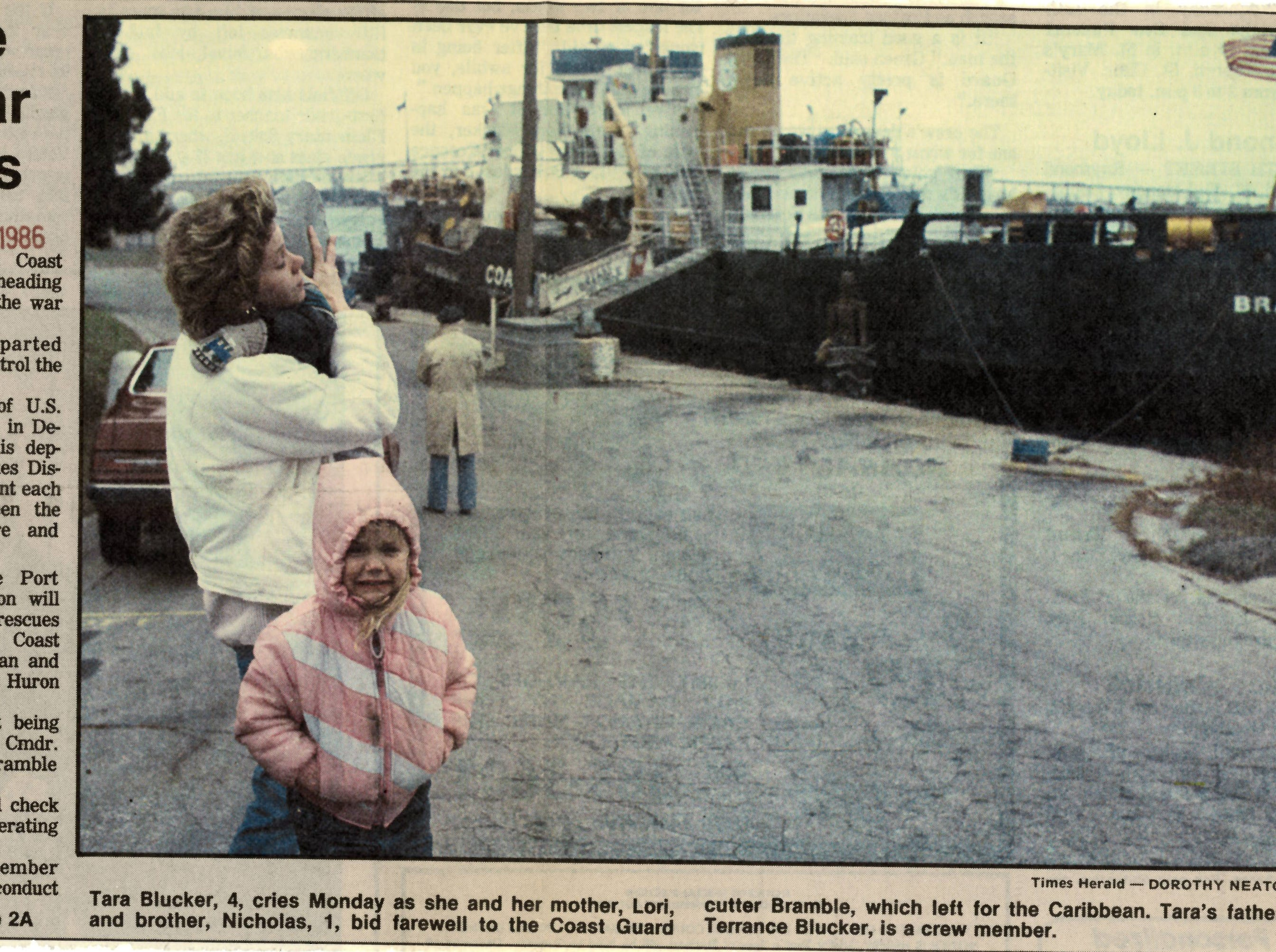 A newspaper clipping from December 1986 shows a family bidding farewell to the USCGC Bramble before leaving for the Caribbean. The ship travelled to the Caribbean for four and a half months.