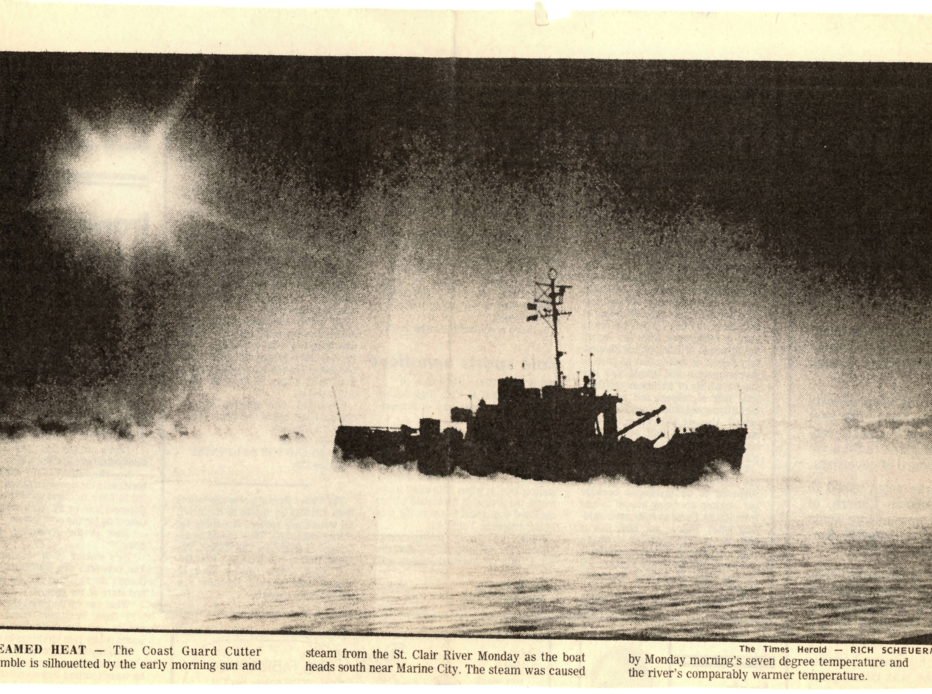 A newspaper clipping from December 1979 shows the USCGC Bramble on the St. Clair River, heading south near Marine City.