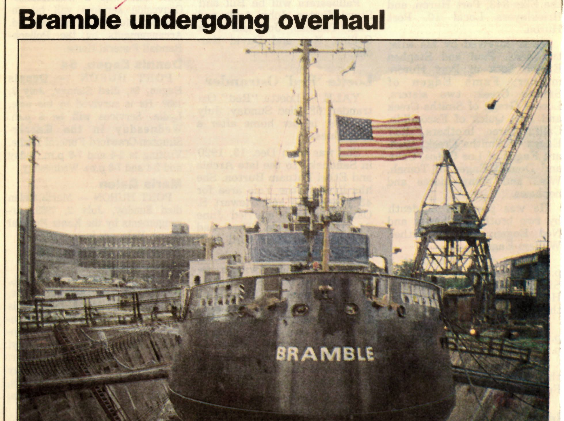 A newspaper clipping from July 1989 shows the USCGC Bramble in a drydock in Toledo while receiving new engines.