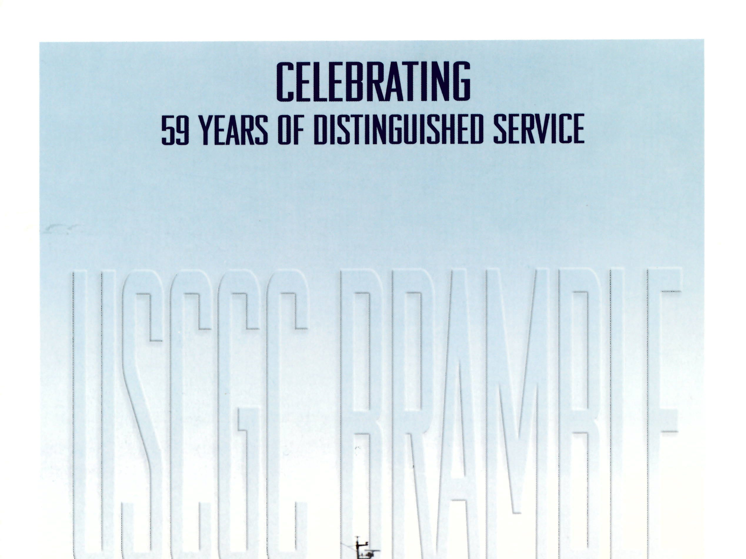 The cover of the program for the USCGC Bramble's decommissioning ceremony, held in May 2003..