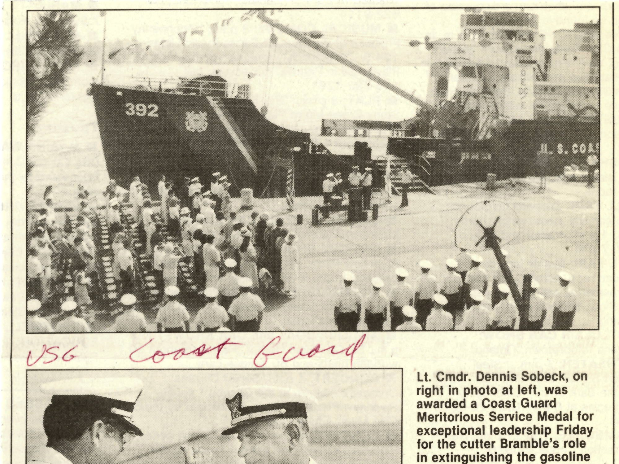A newspaper clipping shows a change of command ceremony being held on the dock near the USCGC Bramble.