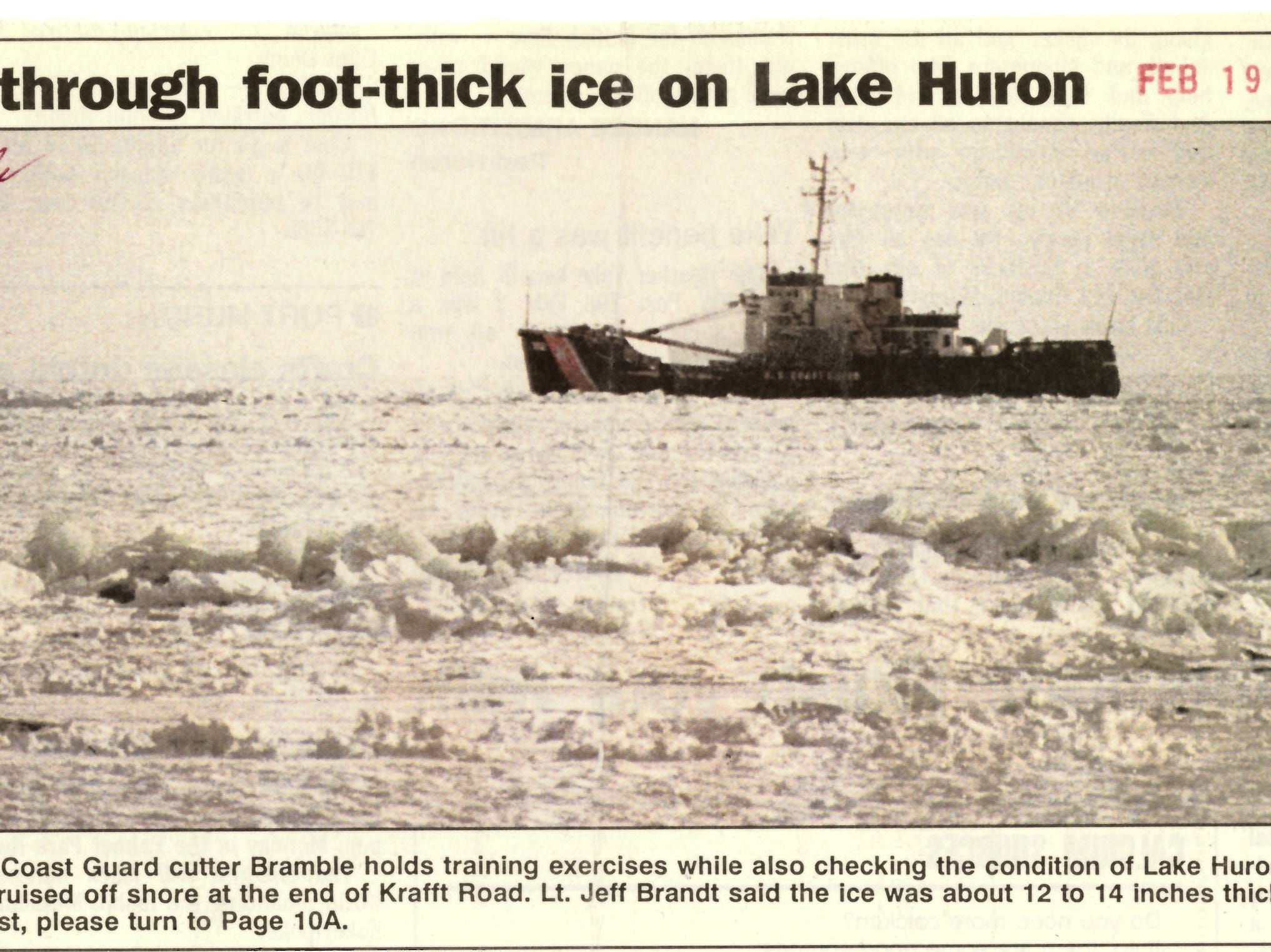 A newspaper clipping from February 1993 shows the USCGC Bramble holding a training exercise while checking the condition of the ice on Lake Huron.