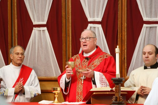 Cardinal Timothy Dolan, seen here celebrating mass last year in Dutchess County, said Monday that he wants to make sure pregnant women are aware of services the Catholic Church offers amid the new abortion-rights law in New York.