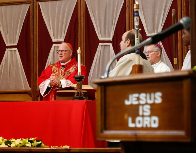 Cardinal Timothy Dolan celebrates mass at Shawangunk Correctional Facility in Wallkill on November 19, 2018.