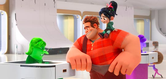 """From left, eBay Elayne, voiced by Rebecca Wisocky, Ralph, voiced by John C. Reilly, and Vanellope von Schweetz, voiced by Sarah Silverman, in a scene from """"Ralph Breaks the Internet.""""  The movie opens Nov. 20 at Regal West Manchester Stadium 13 and R/C Hanover Movies."""