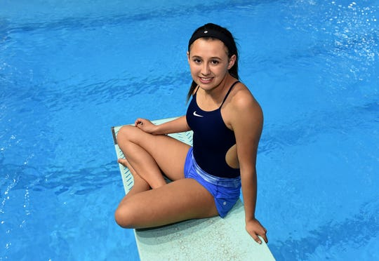 Reno High's Regan Caufield poses for a photograph at the Lombardi Pool on the Nevada campus on May 1, 2017.