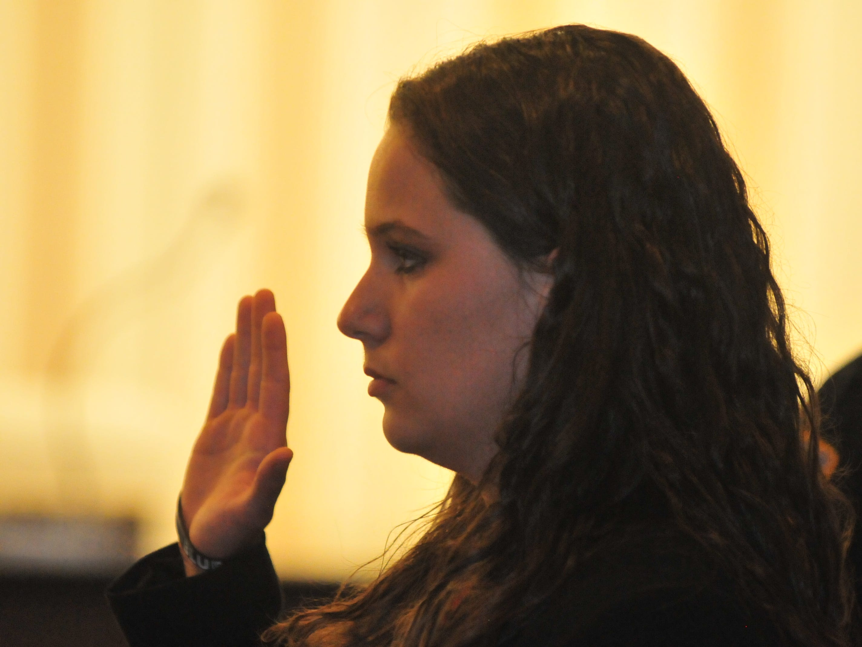 Amanda Thackrey is sworn in Monday as a Richmond Police Department officer.