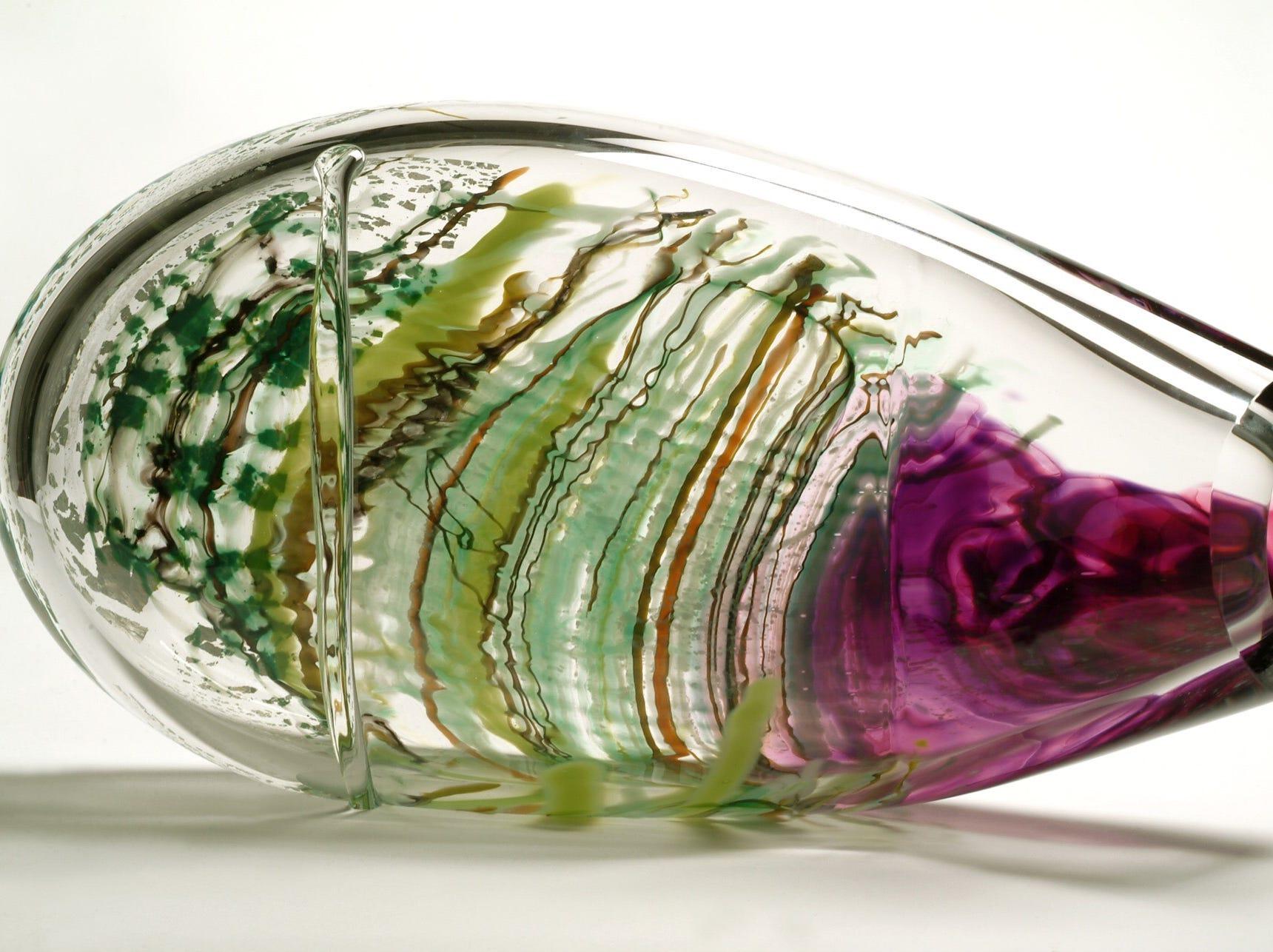 A hand-blown glass work by Vermont-based artist Randi Solin.