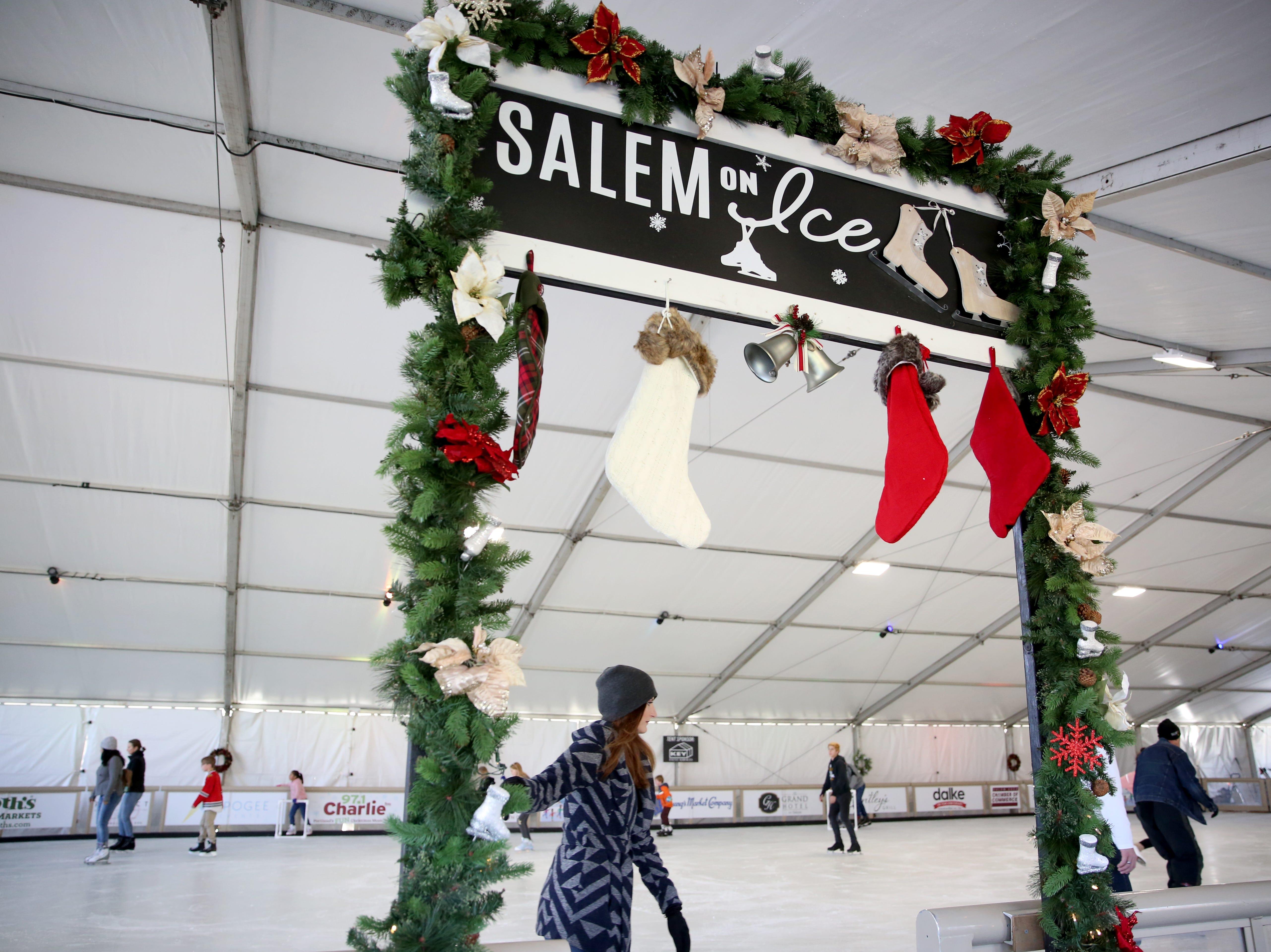 Skaters enter the rink on opening weekend at Salem On Ice in at Riverfront Park on Sunday, Nov. 18, 2018, in Salem.