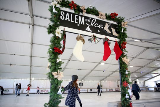Skaters enter the rink on opening weekend at Salem On Ice in at Riverfront Park in November 2018 in Salem.