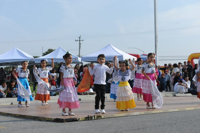 Kindergarten through third grade Monte Bella Elementary students performed Campeche-style dancing at the second annual Alisal Family Resource Centers festival on Sunday.
