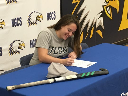 Holly Grove senior Jerri Lankford signs her national letter of intent to play field hockey at the University of Connecticut on Monday, Nov. 19, 2018.