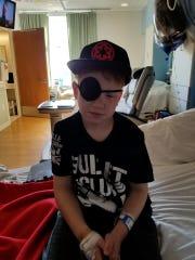 Derek at the Sanford Children's Hospital following surgery.