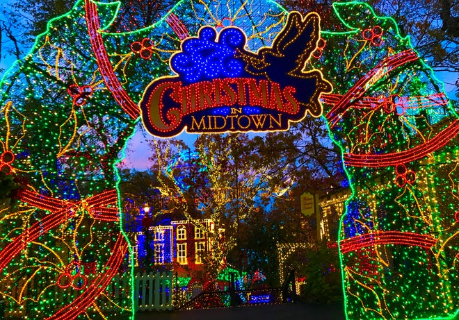 Christmas in Midtown in Silver Dollar City has a 50-foot tree and a running train.
