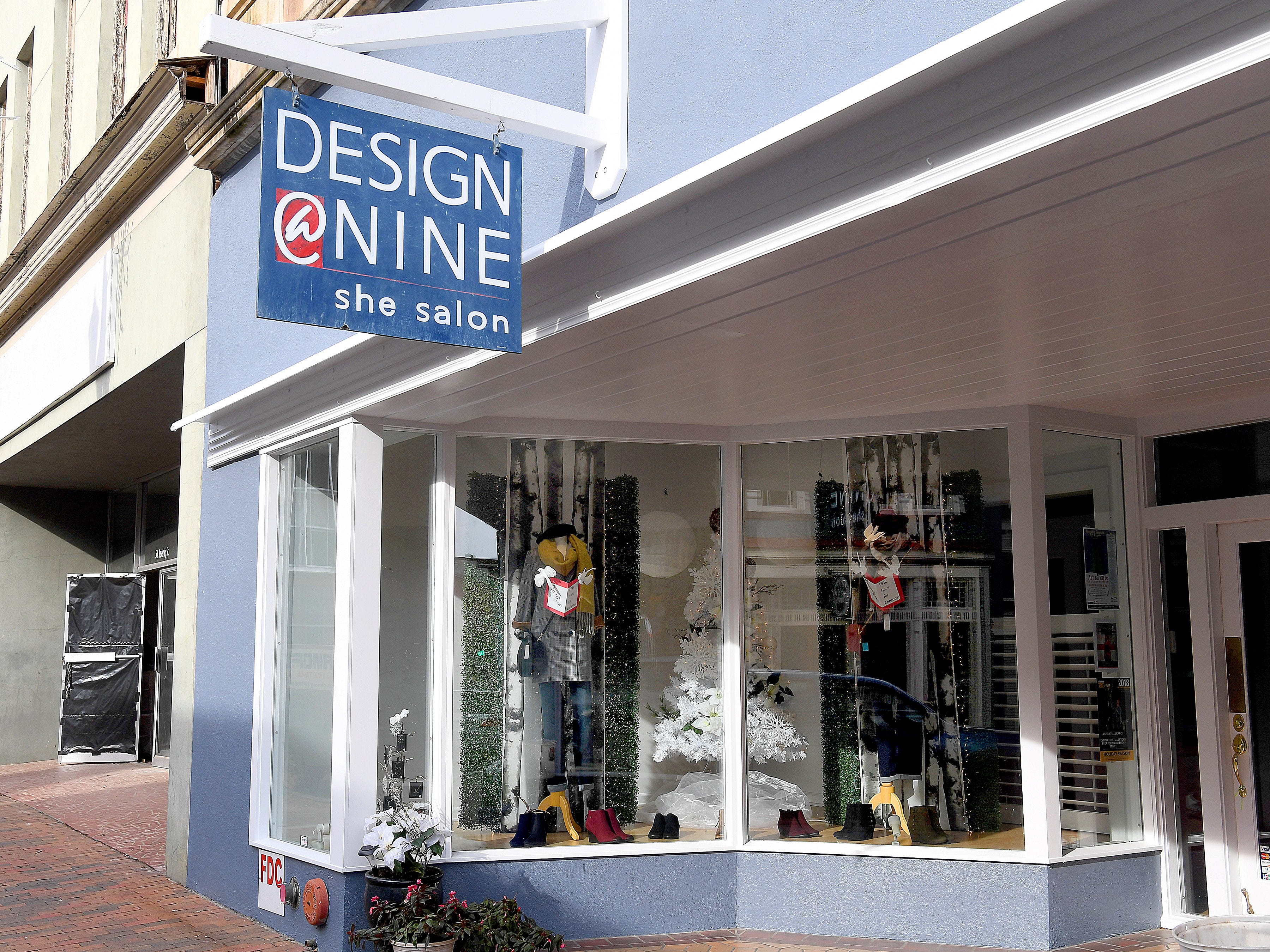Design @ Nine's holiday window display placed third in Staunton Downtown Development Association's holiday storefront window display judging contest.