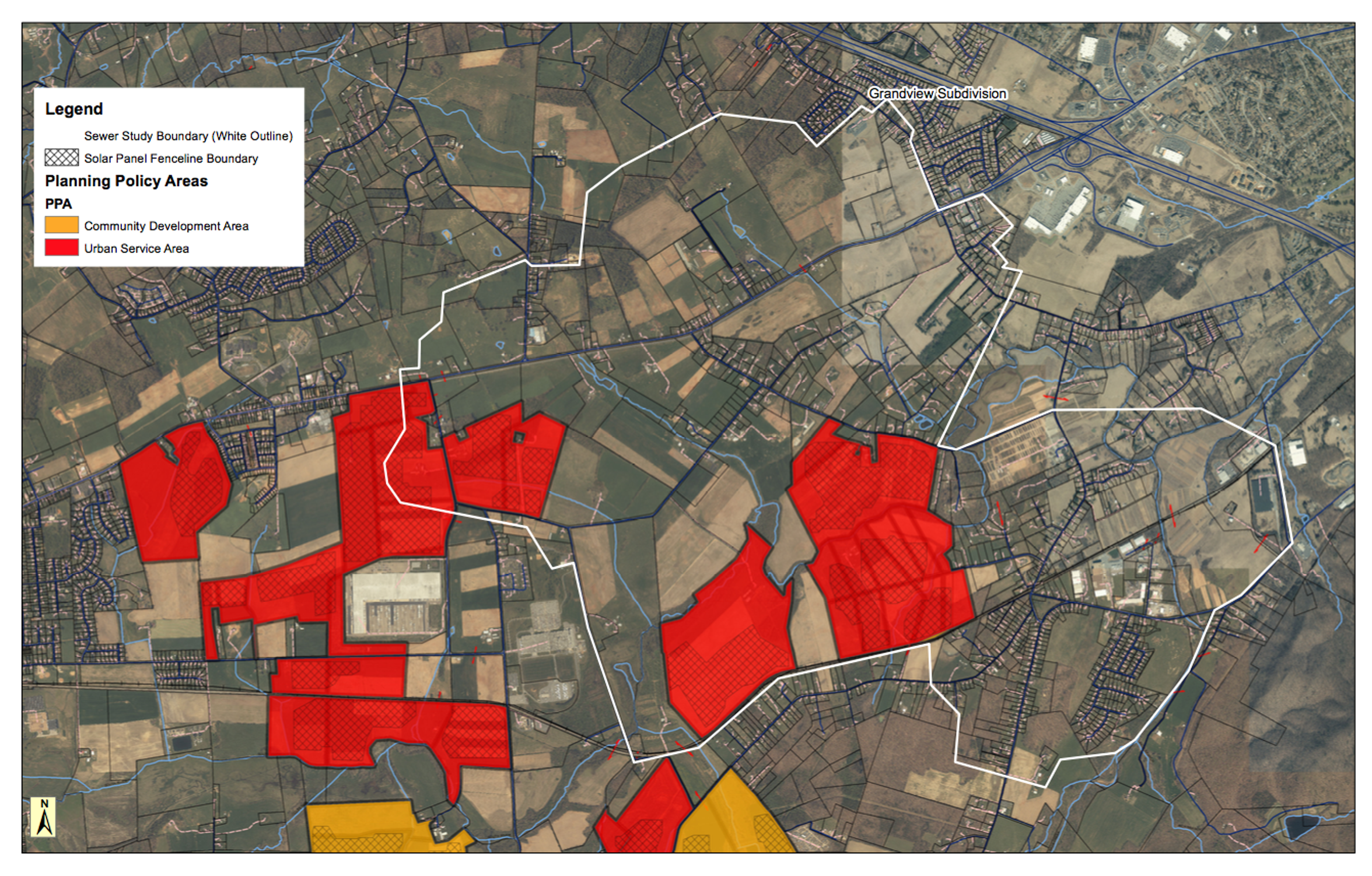Augusta Solar LLC proposed solar farm plans overlap with the county's sewer study. The study shows that water and sewer could be added to the area, which the solar farm would not need.