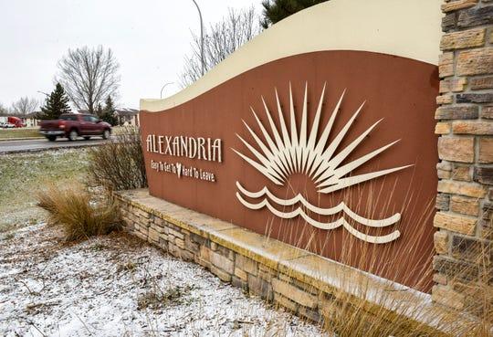 The sign as you enter Alexandria shown Friday, Nov. 16.