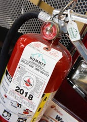 Everyone should have charged and inspected fire extinguisher shown November 2018 at the St. Cloud Fire Department.