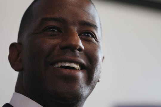 File art of former Tallahassee Mayor Andrew Gillum, during a stop in Miami as part of his campaign last year for Florida governor.
