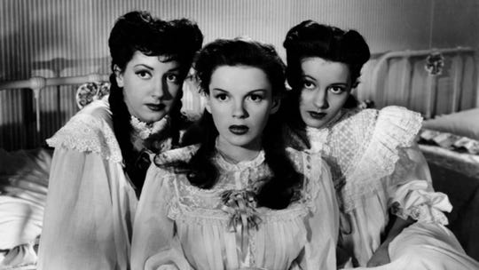 "Virginia O'Brien, Judy Garland and Cyd Charisse in the 1946 film ""The Harvey Girls."""