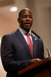 Former Mayor Andrew Gillum gives his farewell speech during the Tallahassee City Commission reorganization meeting Monday, Nov. 19, 2018.