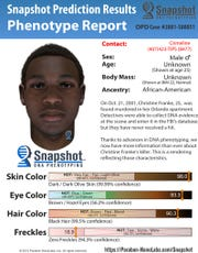 The Snapshot Prediction Results Phenotype Report, generated by Parabon NanoLabs in 2015, of a suspect in the 2001 killing of Christine Franke based on DNA left behind at the scene.