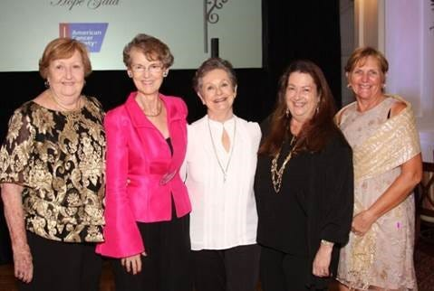 Dr. Michaela Scott, second from left, with former staff members Gay Metcalf, left, Sharon Lay and Jan Beach and friend Aprill Baker at the 2018 American Cancer Society Treasure Coast Hope Gala at Oak Harbor in Vero Beach.