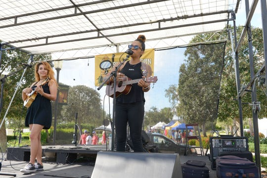 The Little Things' Katy Channing and Shanece Gransam perform at the Treasure Coast Brew Fest at Tradition Square in Port St. Lucie.