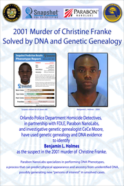 Flyer comparing the composite sketch with a 2004 mugshot of Benjamin Holmes. Holmes was arrested in November in connection with the 2001 killing of Christine Franke.