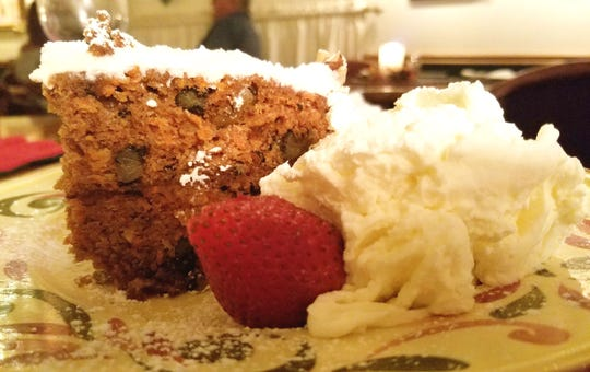 Peter's Steakhouse's carrot cake with Mit Schlag, a rich house made whipped cream.