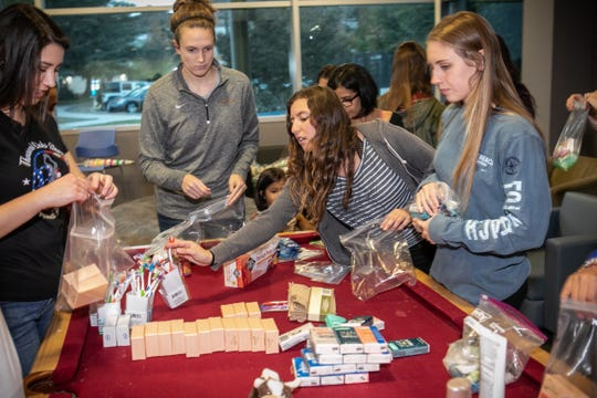 When the Woolsey and Hill fires threatened Thousand Oaks and surrounding communities forcing people to evacuate California Lutheran University students Theresa Taylor, Megan Hancer, Olivia Kemp and Noelle Ferrante were among those who helped make care packages to hand out at shelters.