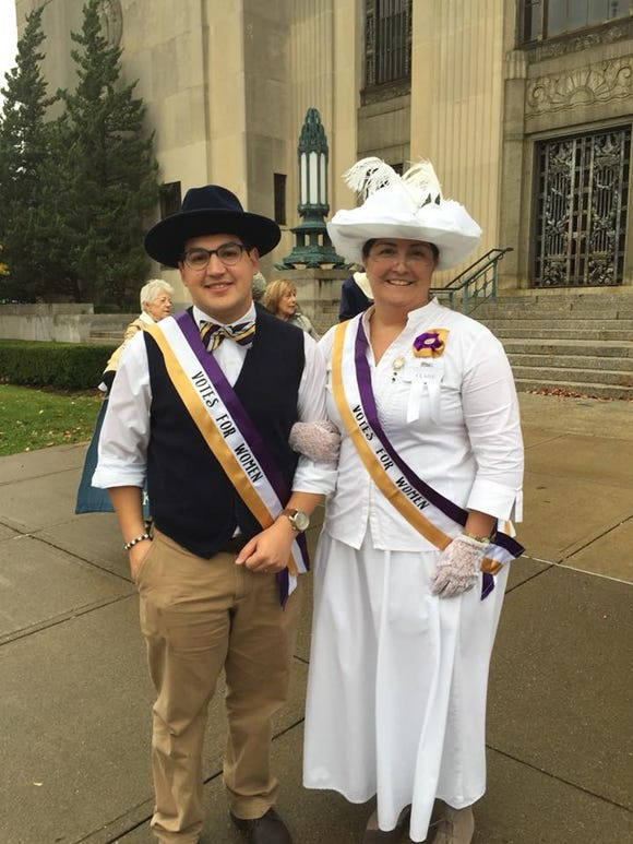 Dustin Hausner and Clare Bowes Sheridan at the March & Rally to Commemorate the Centennial of Women's Suffrage in New York State.