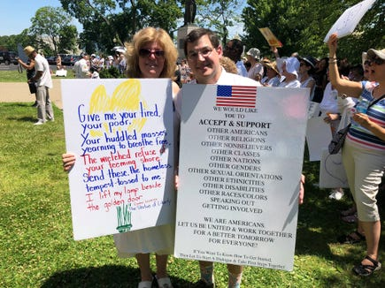Elyse and Dustin Hausner at the Families Belong Together protest in New City