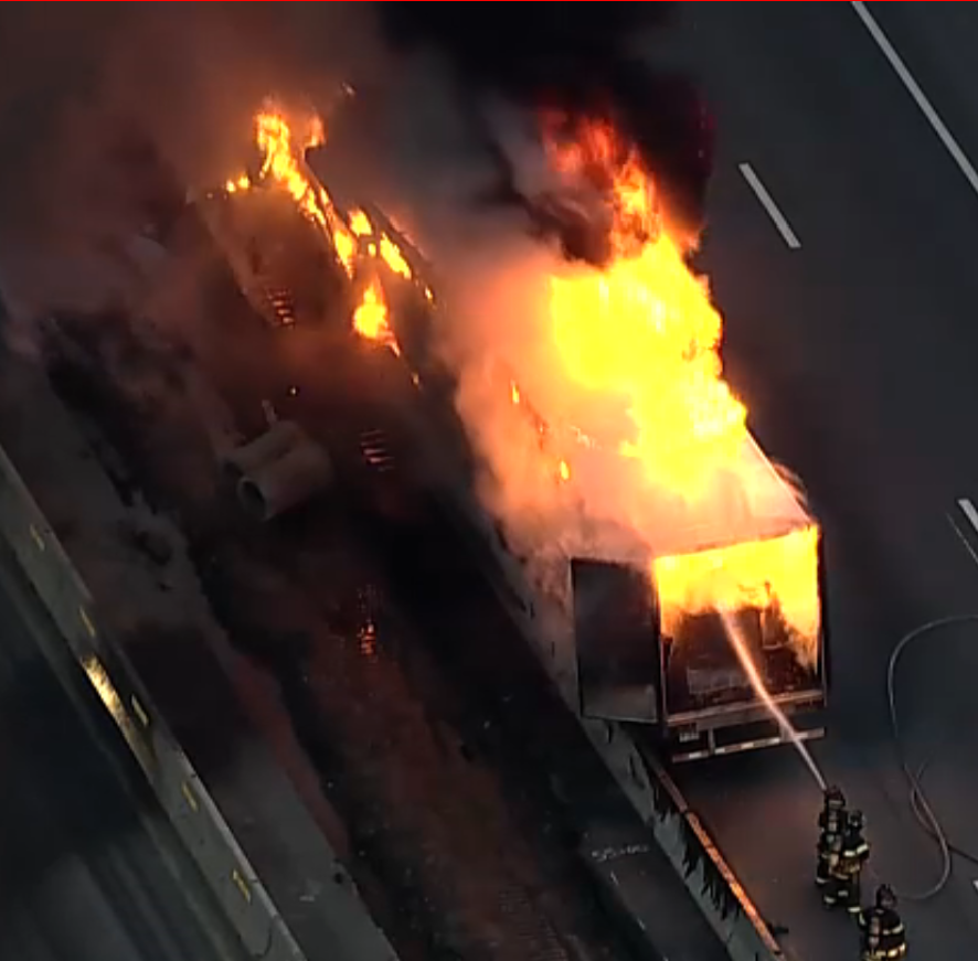 Truck fire on I-87 north blocked two lanes and has tied up traffic for hours
