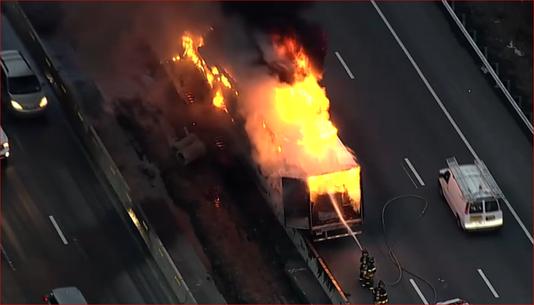 WNBC TV Chopper Photo Of Truck On Fire In I-87